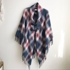 Jessica Simpson plaid poncho cape